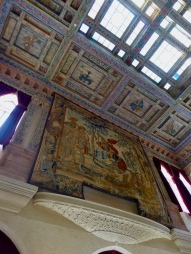 Belgian tapestries one-story high fill the upper walls of the grand room known as 'The Court' at Ca' d'Zan